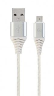 Cablu micro USB-B la USB 2.0 Premium Argintiu/Alb brodat 2m, Gembird CC-USB2B-AMmBM-2M-BW2