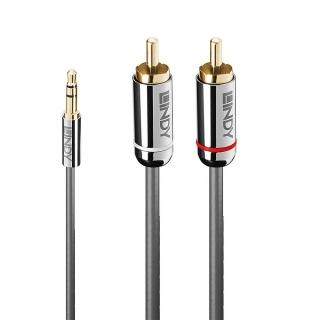 Cablu audio jack 3.5mm la 2 x RCA 10m T-T Antracit Cromo Line, Lindy L35337
