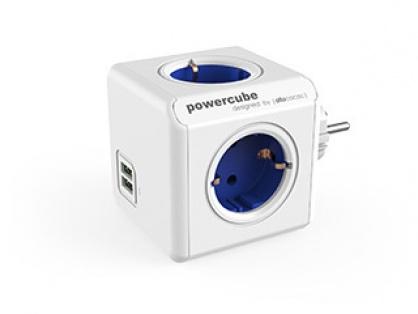 Prelungitor in forma de cub PowerCube Original 4 prize Schuko si 2 X USB Albastru, Allocacoc