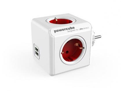 Prelungitor in forma de cub PowerCube Original 4 prize Schuko si 2 X USB Rosu, Allocacoc