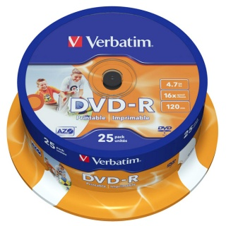 BLANK DVD-R Verbatim SL 16X 4.7GB 25PK SPINDLE WIDE INKJET PRINTABLE ID