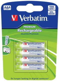 ACUMULATORI AAA (R3), 930mAh, 4 buc., Ni-MH, Verbatim 49942