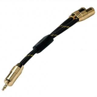 Cablu spliter GOLD Jack stereo 3.5mm la 2 x jack stereo T-M 0.15m, Roline 11.09.4213
