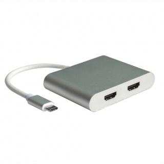 Adaptor USB tip C la 2 x HDMI 10cm, Roline 12.02.1132