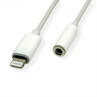 Adaptor iPhone Lightning MFI la jack stereo 3.5mm T-M 0.13m Alb, Roline 12.03.3214