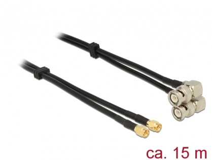 Cablu dublu antena SMA plug la BNC plug 90° RG-58 A/U 15m, Delock 12473