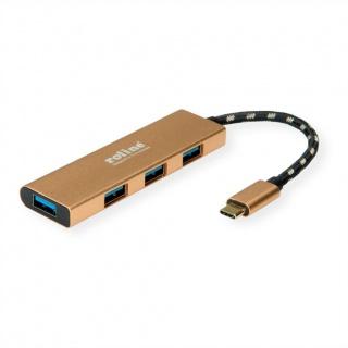 HUB USB 3.1-C GOLD la 4 x USB-A, Roline 14.02.5039