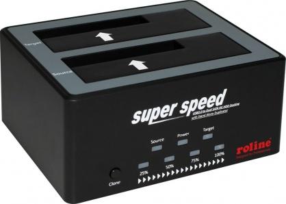"""Docking station HDD SATA 2.5""""+3.5"""" USB 3.0 cu functia HD Copy, Roline 16.01.4122"""