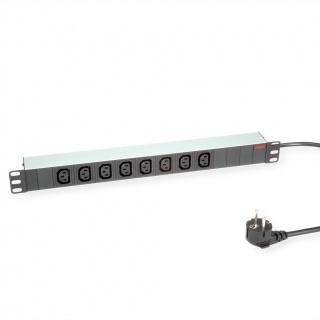 """Prelungitor PDU 19"""" Shucko la IEC C13 Aluminiu 2m, Roline 19.07.1628"""