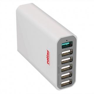 Incarcator priza 1 x Quick/Fast Charge (incarcare rapida) 2.0 + 5 x USB 2.4A, Roline 19.11.1028
