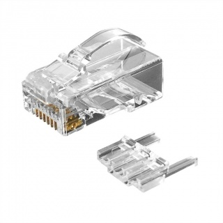 Set 10 buc manson + conector modular RJ45 cat 6 pentru fir solid neecranat bow latch, Roline 21.17.3090