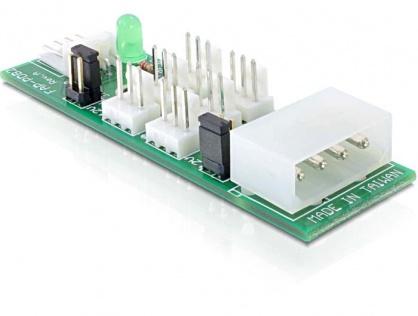 Placa distributie (HUB) Molex/Floppy la 6 porturi ventilator 3 pini 5V-12V, Delock 25218