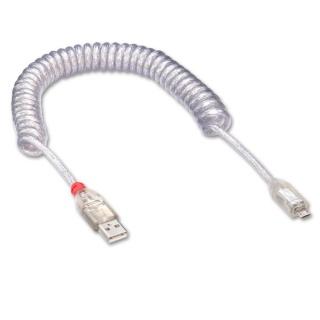 Cablu USB la micro USB 2.0 spiralat transparent 0.2m, Lindy L31926