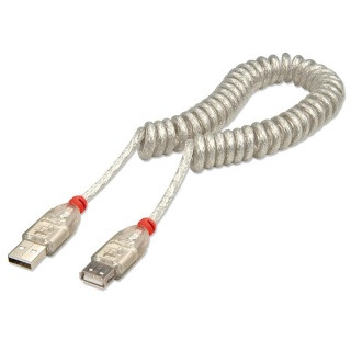 Cablu prelungitor USB 2.0 T-M spiralat 0.2m, Lindy L31927
