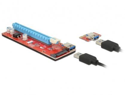 Riser Card mining PCI Express x1 > x16 alimentare SATA, Delock 41423