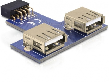Adaptor pin header la 2 x USB 2.0 orientare sus, Delock 41824