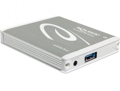 Rack extern USB 3.1 Gen 2 la 2 x mSATA cu Raid, Delock 42571