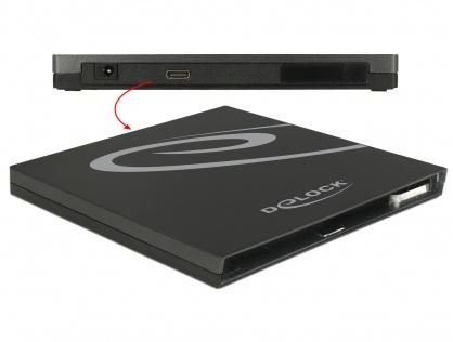 Enclosure extern pentru Ultra Slim SATA 9.5mm la USB 3.1-C, Delock 42595