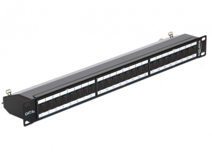 "Patch Panel 19"" ecranat 24 Porturi Cat.6A Negru, Delock 43320"
