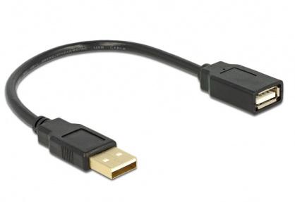 Cablu prelungitor USB 2.0 T-M 15cm, Delock 82457