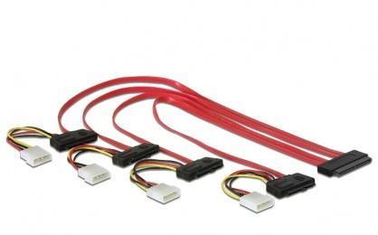 Cablu SAS SFF-8484 la 4 x SAS SFF-8482 + alimentare 50cm, Delock 83051