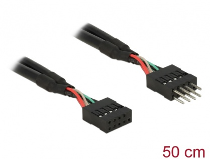 Cablu prelungitor pin header USB 2.0 10 pini T-M 50cm, Delock 83874