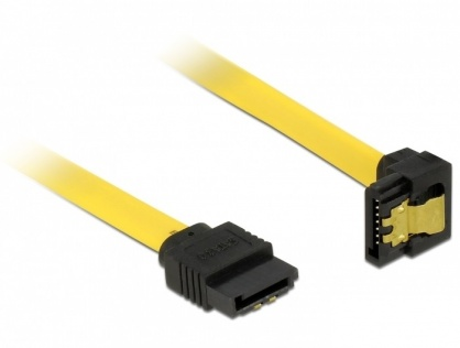 Cablu SATA III 6 Gb/s unghi jos-drept, clips metalic 10 cm, Delock 82798