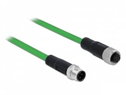 Cablu de retea M12 4 pini D-coded TPU 2m, Delock 85434