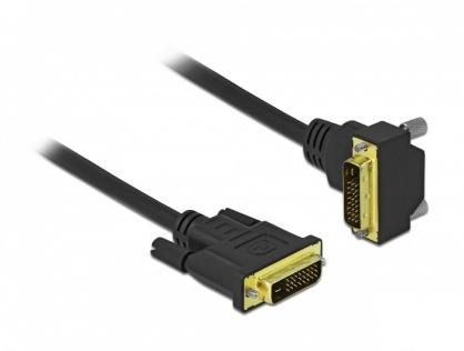 Cablu DVI-D Dual Link 24+1 pini drept/unghi 90 grade T-T 2m Negru, Delock 85894