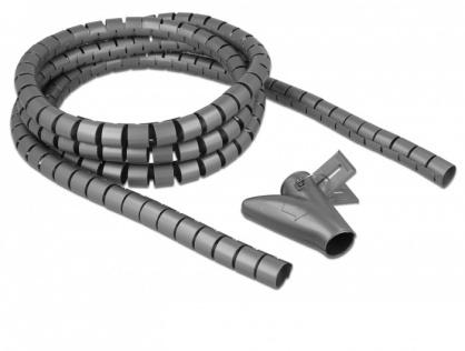 Organizator cabluri spiralat 2.5m x 25mm Gri, Delock 18845