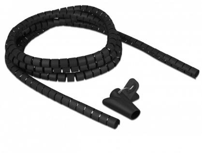 Organizator cabluri spiralat 2.5m x 15mm Negru, Delock 18835