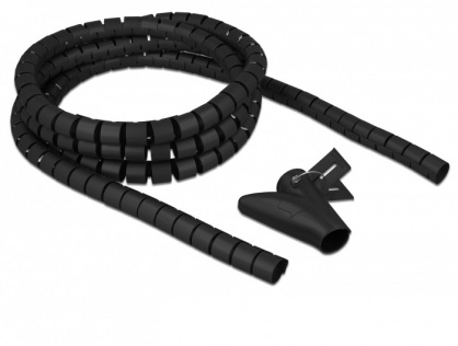 Organizator cabluri spiralat 2.5m x 20mm Negru, Delock 18836