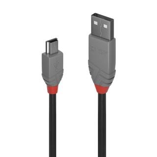 Cablu USB 2.0 la mini USB-B 5m T-T Anthra Line, Lindy L36725