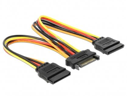 Cablu de alimentare SATA la 2 x SATA 12V T-M 15cm, Delock 60143