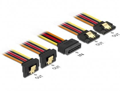 Cablu de alimentare SATA 15 pini la 2 x SATA drept + 2 x SATA unghi jos 15cm, Delock 60150