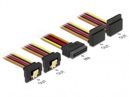 Cablu de alimentare SATA 15 pini la 2 x SATA unghi sus + 2 x SATA unghi jos 30cm, Delock 60154