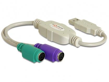 Adaptor USB la 2 X PS/2, Delock 61244