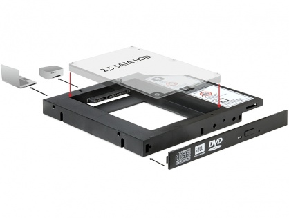 "Installation Frame (Caddy) 13mm Slim SATA 5.25 pentru 2.5"" SATA HDD 9.5mm, Delock 61993"
