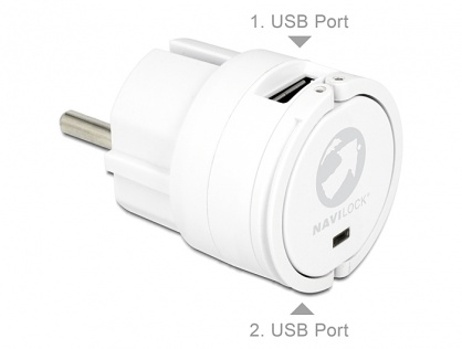 Incarcator priza 2 x USB 2A Alb, Navilock 62516