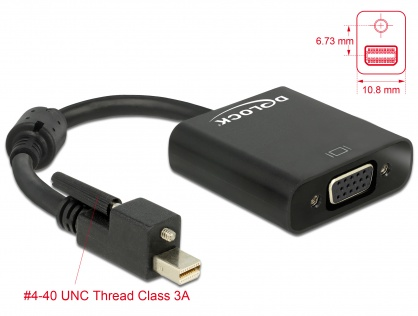 Adaptor mini Displayport 1.2 la VGA prindere cu surub T-M, Delock 62641