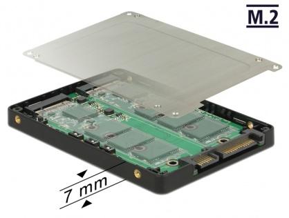 """Adaptor 2.5"""" SATA 22 pini la 2 x M.2 RAID + rack extern, Delock 62791"""
