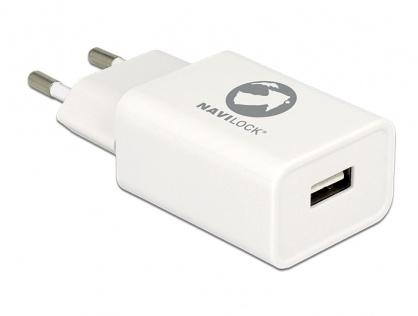 Incarcator priza 1 x USB 5V 2.4A + cablu micro USB-B Alb, Navilock 62849