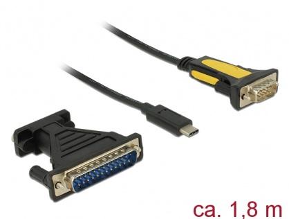 Adaptor USB-C la Serial RS232 DB9 + adaptor DB25, Delock 62905