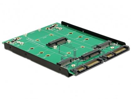 """Convertor 3.5"""" 2 x SATA 22 pini la Dualport 2 x M.2 / 2 x mSATA, Delock 62946"""