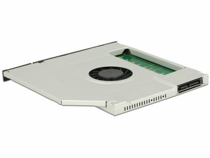 """Installation Frame Slim SATA 5.25"""" (10mm) la 1 x M.2 SSD Key B cu ventilator, Delock 63287"""