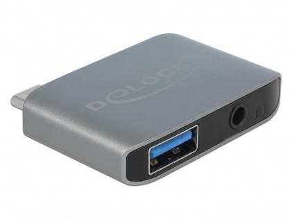 Adaptor audio USB-C la jack stereo 3.5mm + USB-A T-M, Delock 63965
