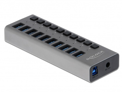 HUB cu 10 porturi USB 3.0 + switch ON/OFF Negru, Delock 63976
