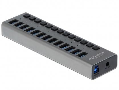 HUB cu 13 porturi USB 3.0 + switch ON/OFF Negru, Delock 63977