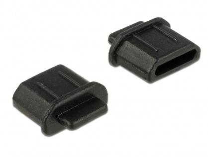 Protectie impotriva prafului pentru conector micro HDMI-D mama Negru set 10 buc, Delock 64031