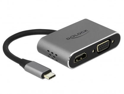 Adaptor USB-C la HDMI, VGA, 1 x USB 3.0, 1 x USB-C PD, Delock 64074